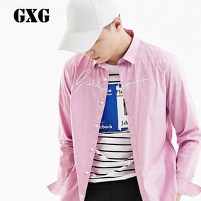 GXG男装 2017春装新款男士粉色斯文衬衣长袖衬衫#171803010