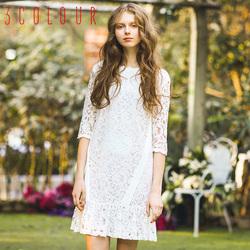 三彩2016春装新款中袖荷叶边白色蕾丝雪纺连衣裙女装D612085L10