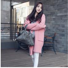2014秋装新款韩国东大门针织开衫女韩版中长款加厚宽松大毛衣外套