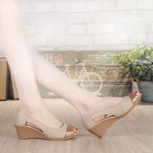包邮 特价 凉皮鞋 软皮 夏季新款 中跟妈妈鞋 真皮凉鞋 女鞋 鱼嘴鞋 女凉鞋