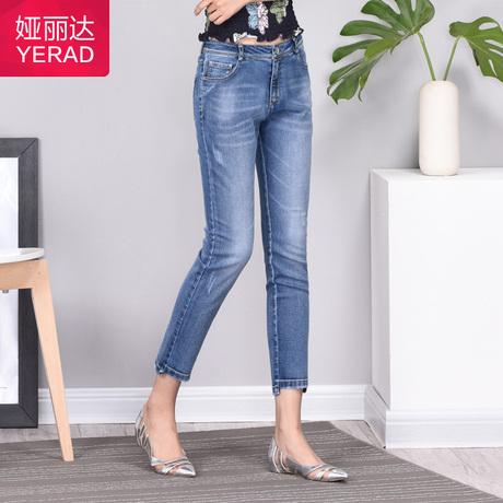 娅丽达女裤2019夏季新款牛仔裤女小脚铅笔大码显瘦九分薄款裤子商品大图