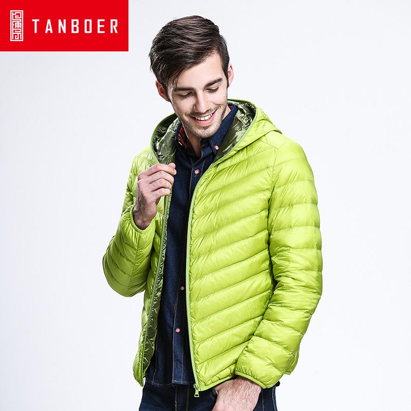 坦博尔冬季正品轻薄短款男青年羽绒服连帽韩版休闲羽绒外套TA3221