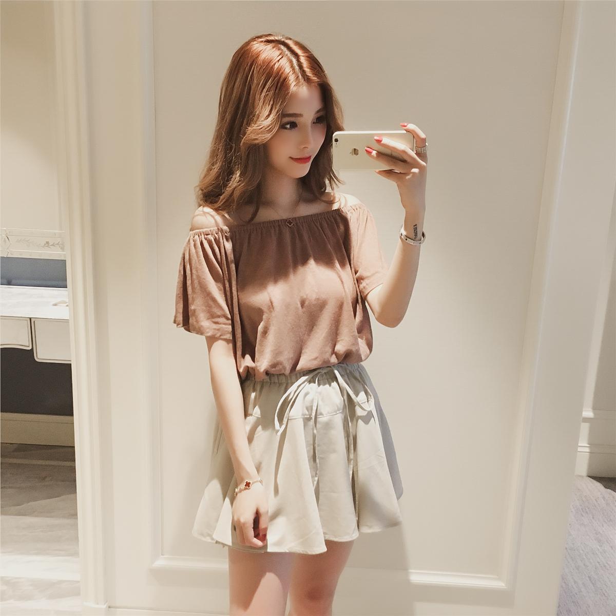 2017夏季新款韩版一字领露肩短袖T恤+荷叶边短裙chic套装女两件套