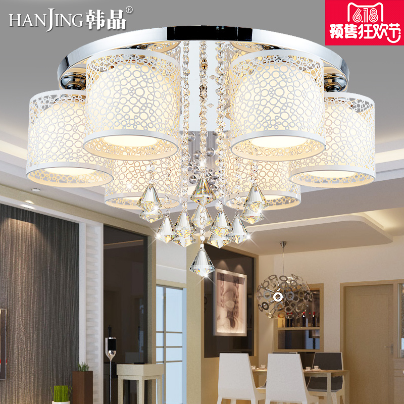 LED吸顶灯圆形节能水晶客厅灯大气变光遥控卧室灯餐厅灯房间灯具