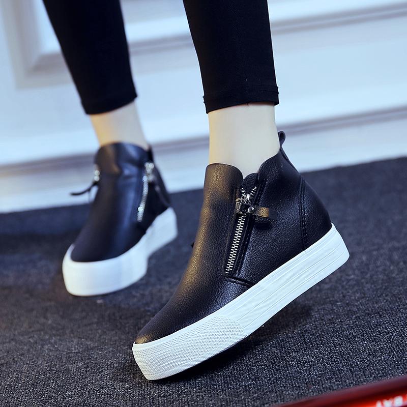 内增高女鞋秋2016新款黑色皮鞋高帮坡跟厚底松糕鞋侧拉链懒人鞋潮