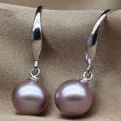 正圆极亮无瑕珠宝紫色粉色天然珍珠耳环耳钩925纯银正品包邮