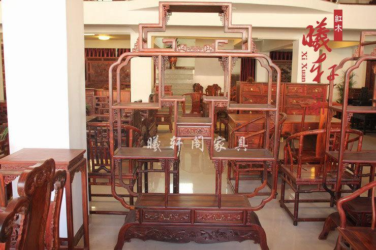 红木家具红酸枝木家具中式仿古家具多宝格古董架带抽