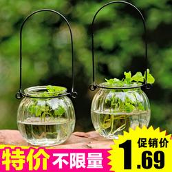 创意悬挂透明玻璃花瓶小吊瓶简约水培花器室内园艺家居装饰瓶
