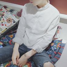 简约纯色韩版亚麻白衬衫男士长袖小领修身潮日系复古棉麻薄款上衣
