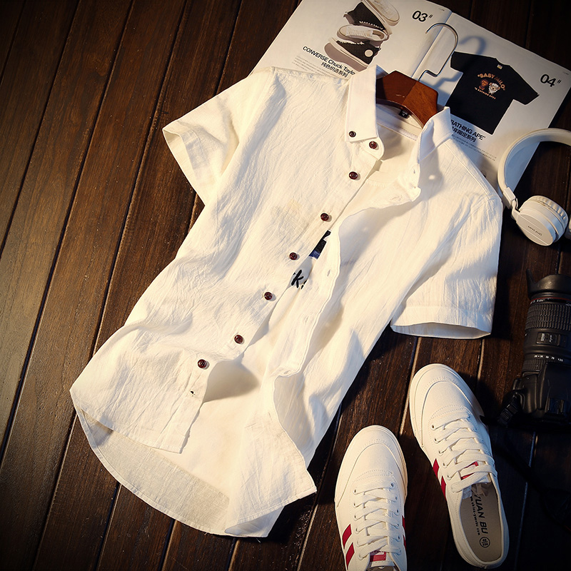 修身短袖上衣寸衫潮青少年學生休閑襯衫夏季男士襯衣