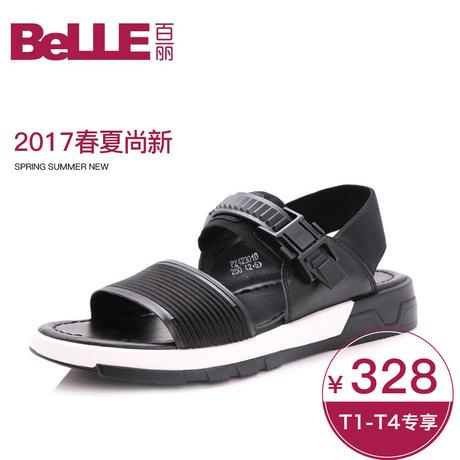 【预售】Belle/百丽2017夏季厚底舒适简约休闲男凉鞋42301BL7商品大图
