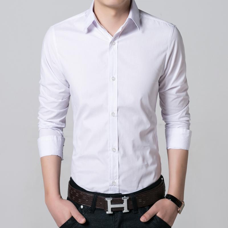 沃首男装夏季薄款男士白衬衫衬衣长袖职业装型