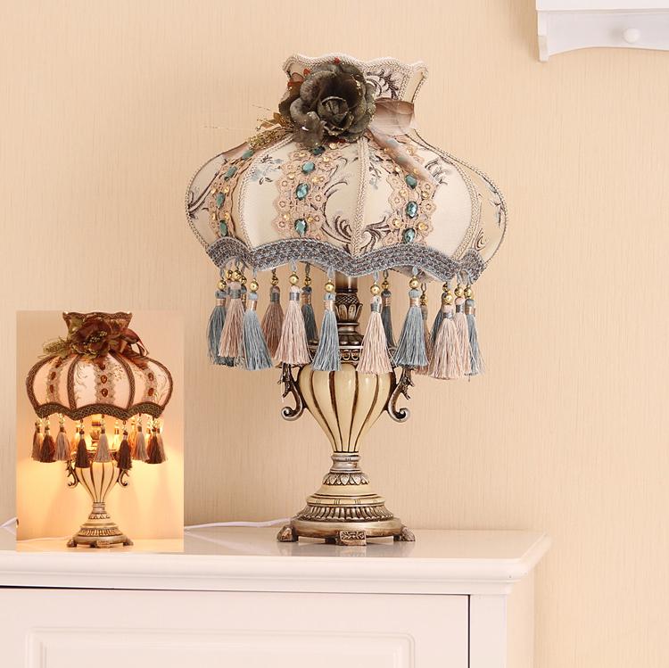 欧式高档装饰台灯创意吊坠复古树脂灯座调光客厅卧室