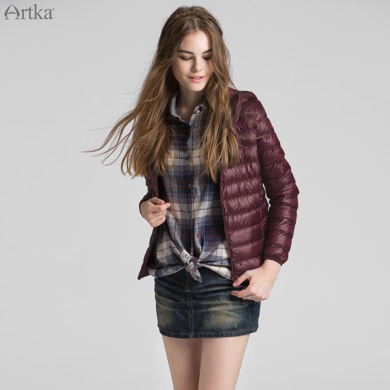 Artka阿卡秋冬装新品90%白鸭绒修身超轻薄连帽短款羽绒服DK11262D