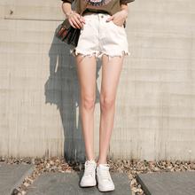 2017春夏新款韩版高腰不规则毛边白色牛仔短裤女学生个性热裤子女