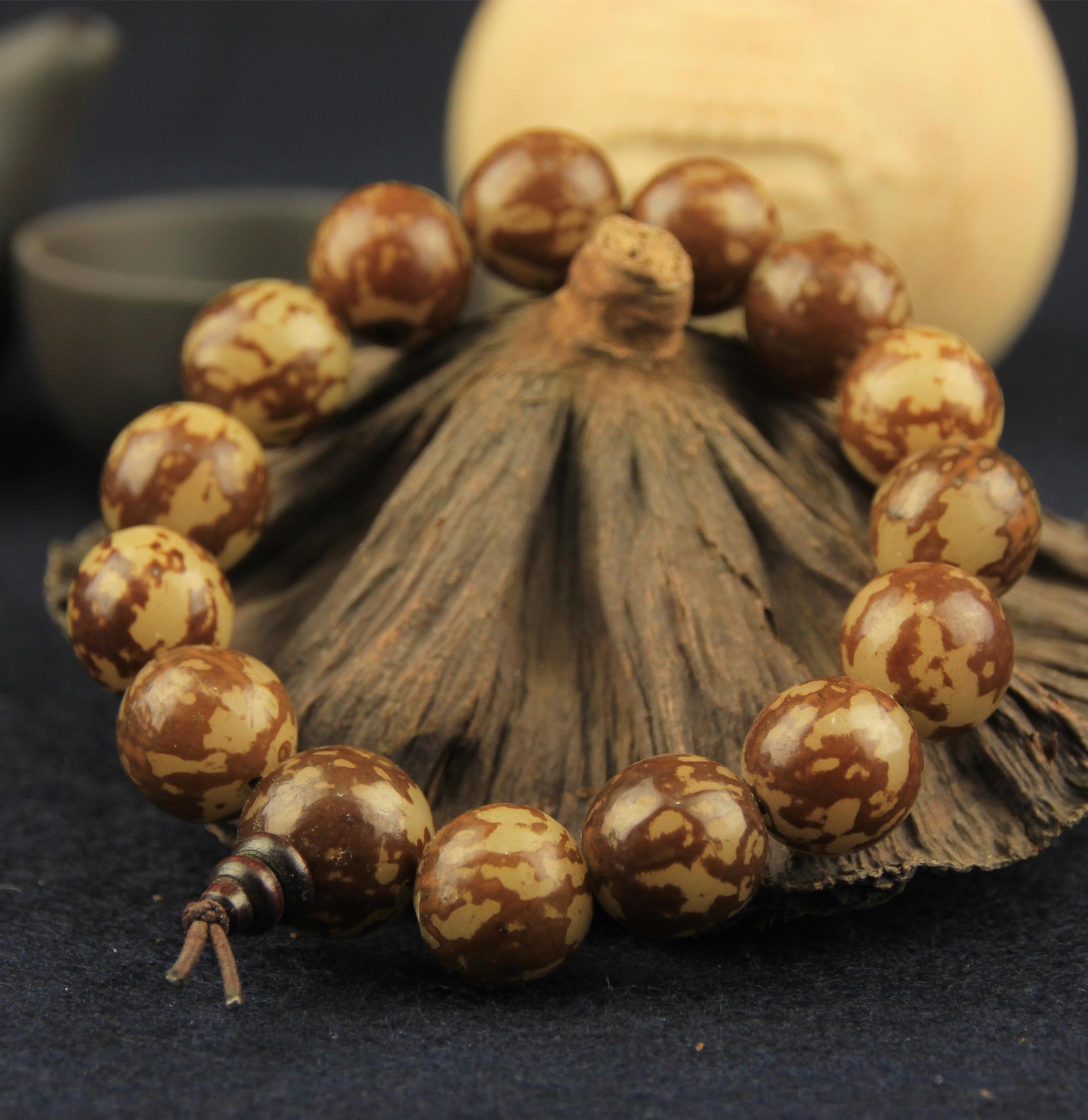 莲花菩提子饰品夏季男女款念珠佛珠手串天然正宗打磨菩提根手链