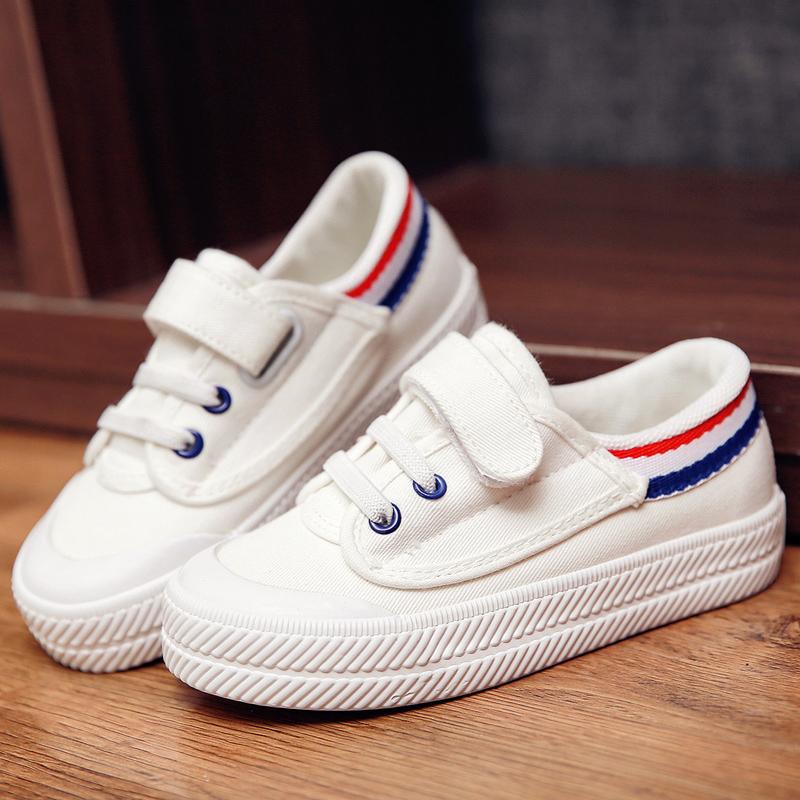 飞耀童鞋男童布鞋女童板鞋韩版白色低帮儿童帆布鞋幼儿园小白鞋