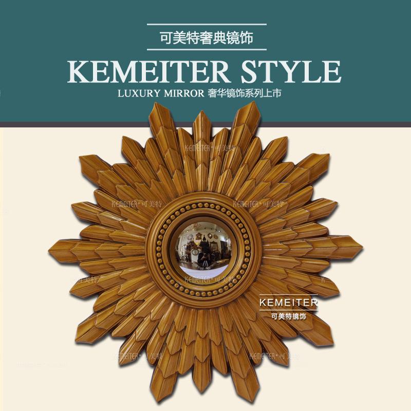 圆形太阳造型床头挂镜经典欧式美式玄关壁炉装饰镜子