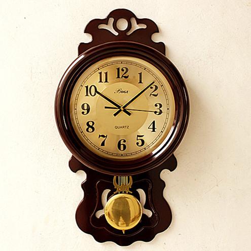 博古欧式挂钟豪华复古摆钟客厅实木大号时钟表墙钟钟