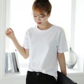 【天天特价】纯棉纯色短袖t恤女 大码百搭纯白色t上衣体恤打底衫