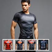 漫威超级英雄超人短袖紧身衣T恤男士速干透气健身服运动弹力薄夏
