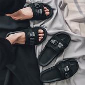 情侣款 ulzzang港风拖鞋 绑带男凉鞋 原宿一字拖户外沙滩鞋 夏季新品