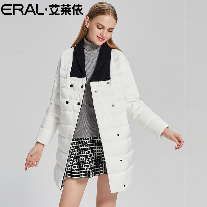 艾莱依羽绒服女中长款韩国宽松学院学生2017新款韩版休闲可爱冬装