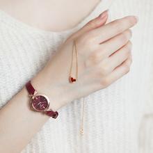 泡芙定制 葡萄酒红美腻手表+配套心形项链+耳钉+手链