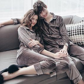 韩国代购情侣睡衣女春秋长袖丝绒面料男士简约韩版休闲家居服套装