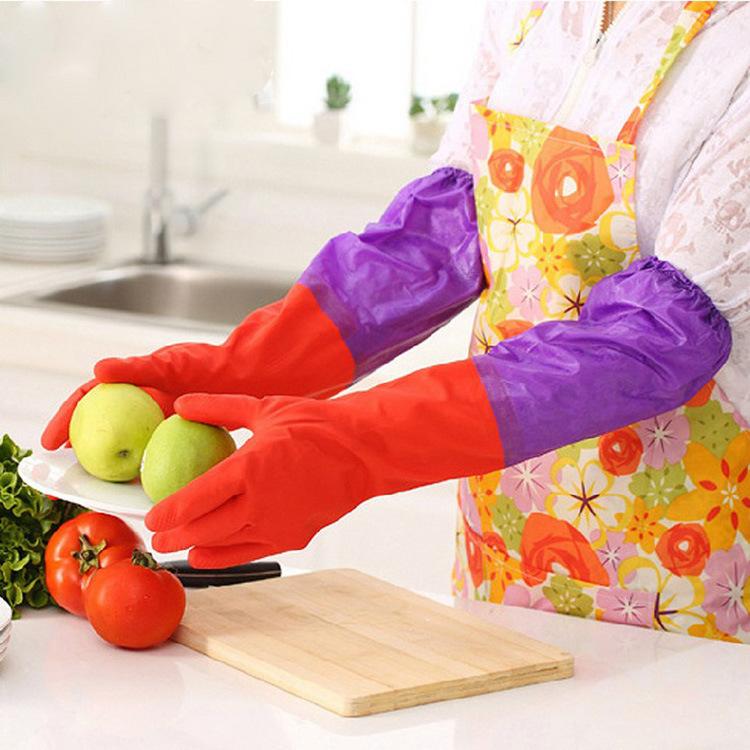 家务手套厚薄款厨房洗碗洗衣乳胶手套耐用橡胶手套防水内加绒长款