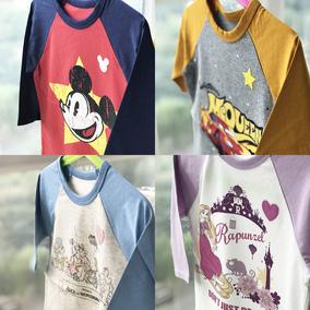 现货日本童装代购千趣会男女童春夏迪士尼插肩7分袖T恤圆领打底衫