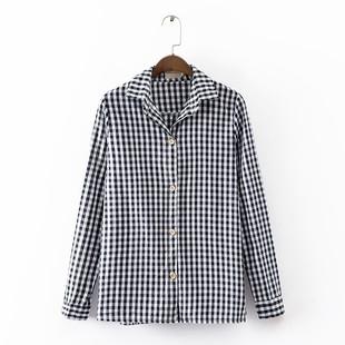 经典的格子印花是衣橱中必不可少的单品,全棉修身长袖衬衫A23