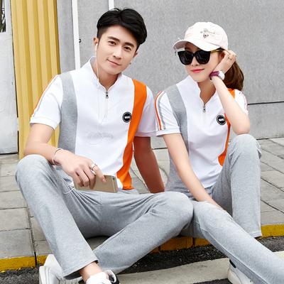 中年情侣运动套装夏季运动休闲套服中年男女户外旅行团体跑步套装