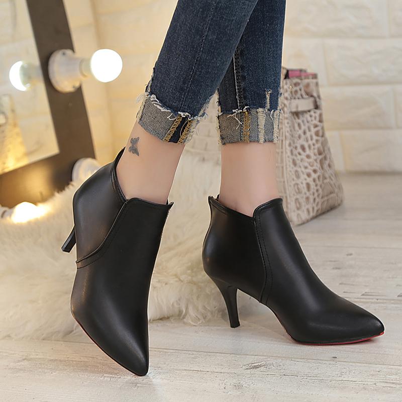 2017秋冬新款高跟细跟尖头百搭女鞋短靴韩版马丁靴英伦女靴子裸靴