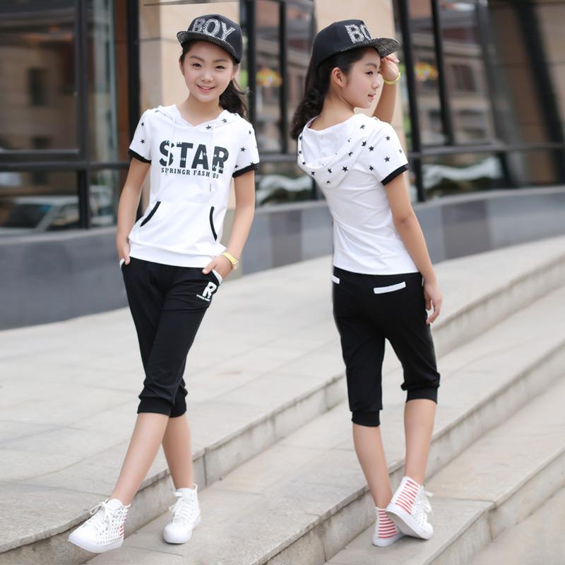 两件套七分裤夏装学生运动初中休闲套装少女装青少年