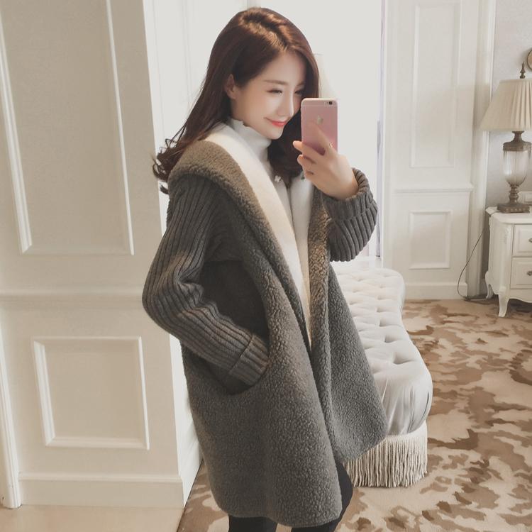 冬装羊羔毛外套女韩国学生中长款棉服春秋加厚连帽羊羔绒大衣潮