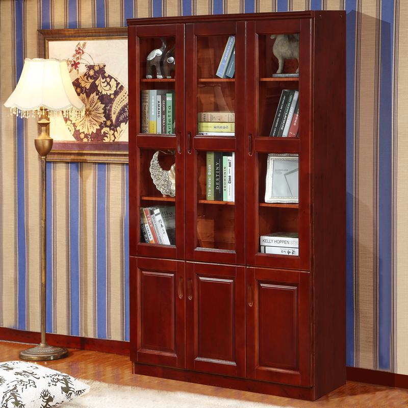 中式实木书柜带门书柜书架自由组合三门书柜书橱两门