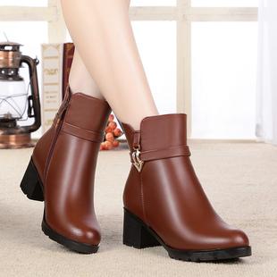 好恋意尔康羊毛女靴中筒中跟粗跟女士真皮棉靴加绒冬季棉皮鞋大码