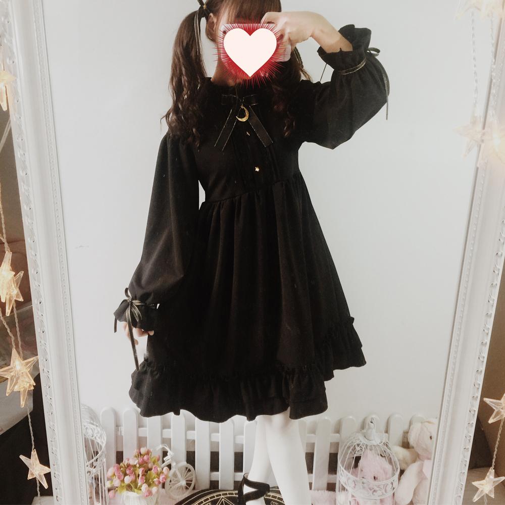 逗酱原创【月光下的城堡】Lolita哥特黑暗复古宫廷洋装长袖连衣裙