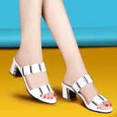 水钻一字拖 女夏季中跟时尚 高跟凉鞋 韩版 女真皮粗跟女士凉拖鞋 新款