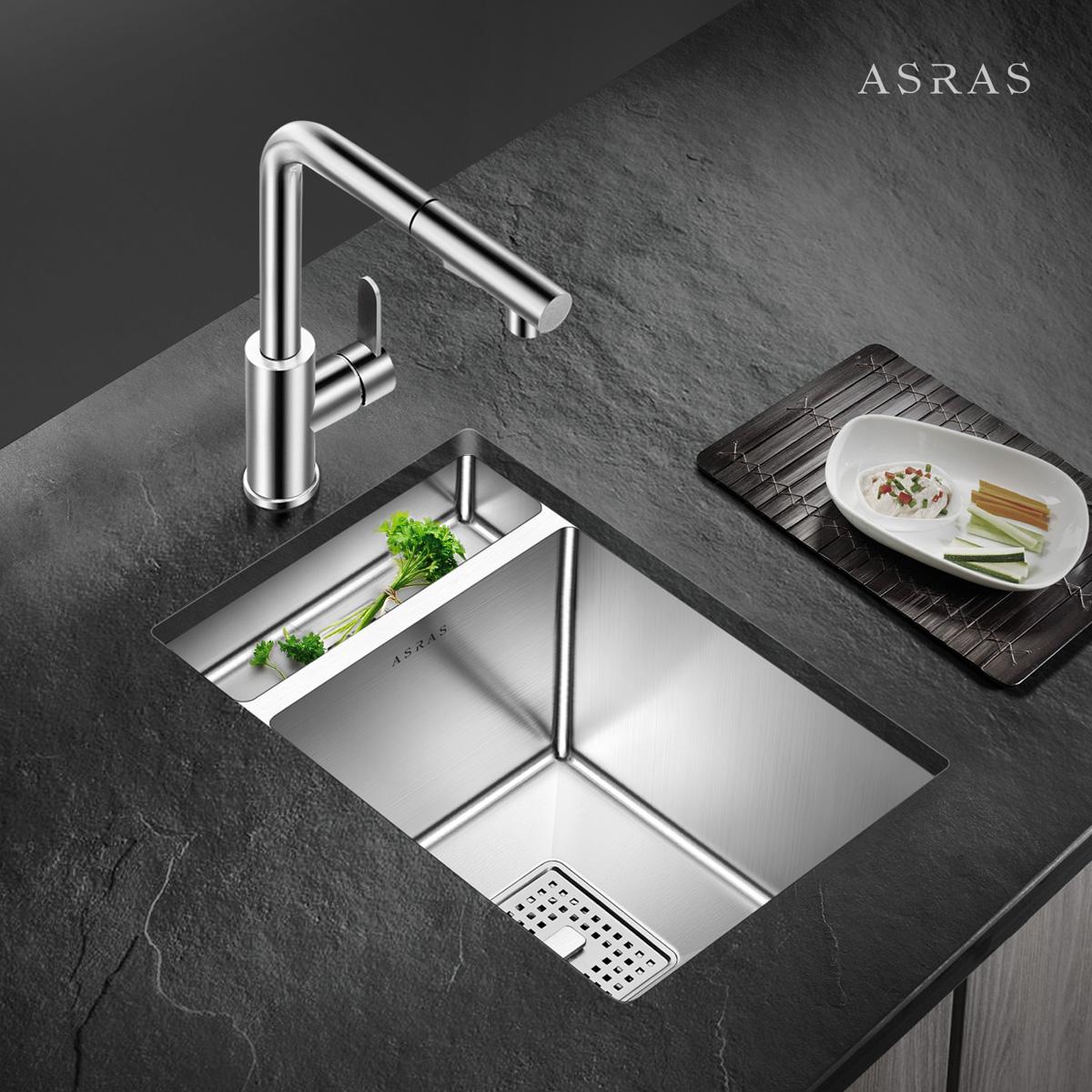 不锈钢手工水槽套餐洗菜盆茶水间吧台阳台单槽小水槽盆 304 阿萨斯
