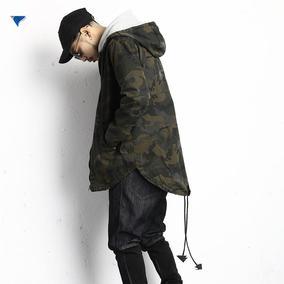 春款M51欧美工装军旅风男士军绿迷彩中长款风衣不对称燕尾薄外套