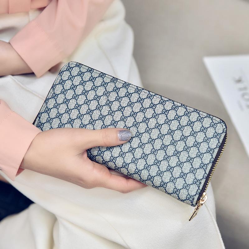 长款拉链零钱包包简约女士多功能方格钱包手拿包