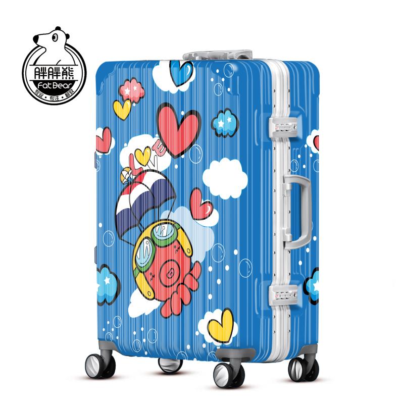 胖胖熊男女潮卡通万向轮拉杆箱印花超轻行李箱旅行箱子母箱sjl041