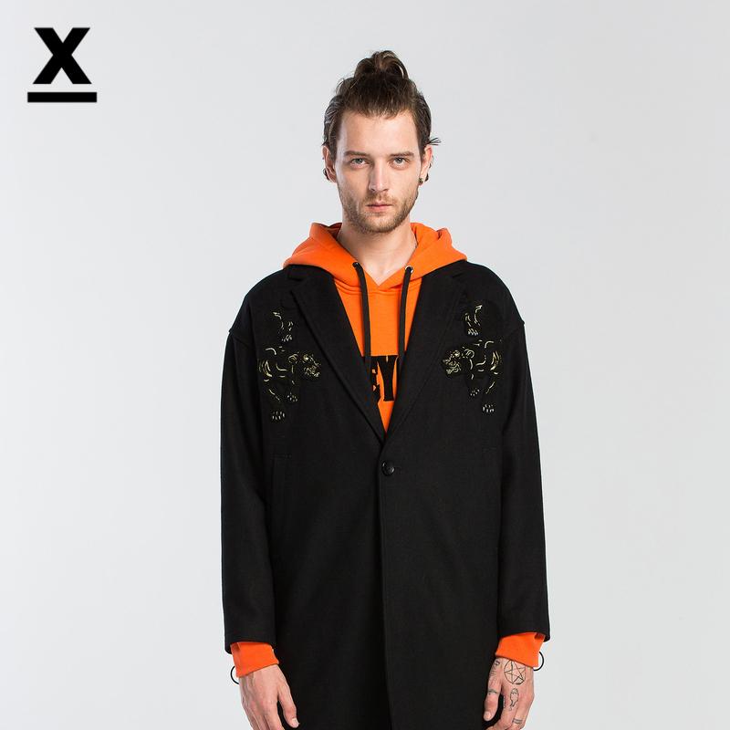 【商场同款】dx2017冬季新款男士羊毛潮牌刺绣大衣