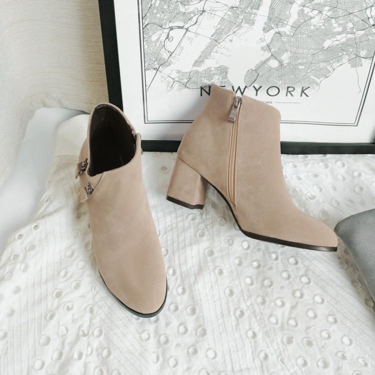chic时尚2017秋冬季新款女鞋尖头及踝靴磨砂皮马丁靴女裸靴子单靴