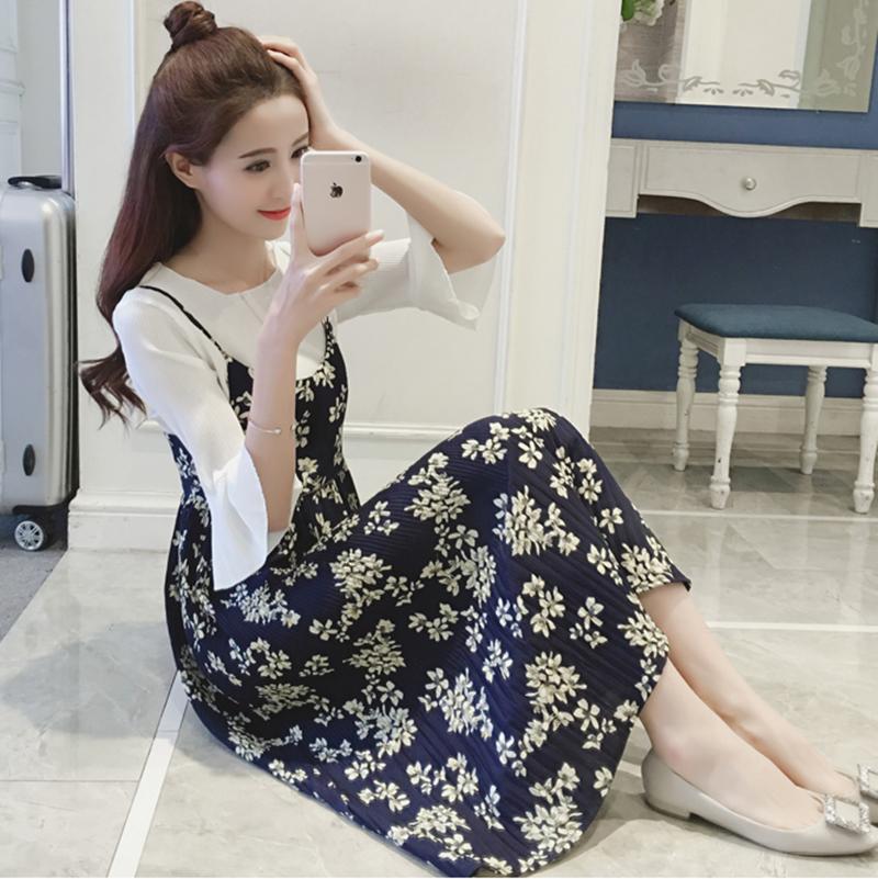 夏装吊带套装中长清新裙子夏季两件套碎花连衣裙