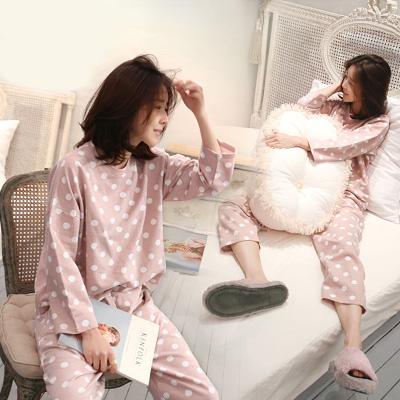清新可爱睡衣季韩版薄款外穿大码春秋长袖套装家居服针织