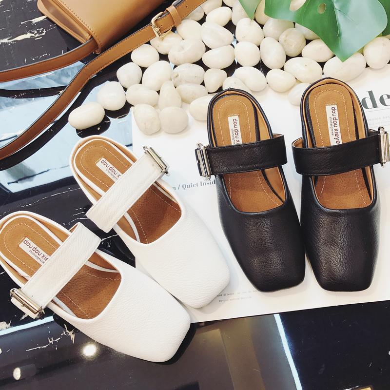 拖鞋鞋韓版中跟時尚包頭懶人穆勒復古涼拖百搭