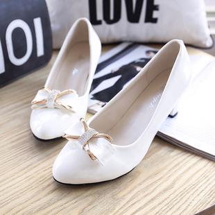 春秋韩版尖头小皮鞋浅口女鞋黑色女士高跟鞋中跟粗跟百搭工作单鞋